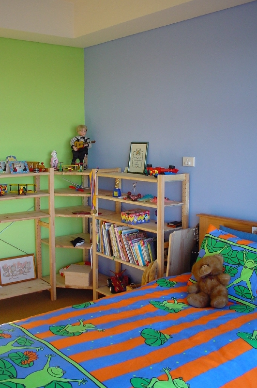 pretty blue with lime kids bedroom